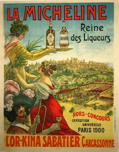 Poster La Micheline L'Or Kina Carcassonne Circa 1846 Louis Oury - www.french-vintage-posters.fr