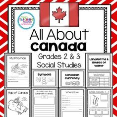Canada: Provinces, Territories, Symbols, Bodies of Water Canada For Kids, All About Canada, Canadian Culture, Canadian History, Canadian Symbols, Social Studies Activities, Teaching Social Studies, Landforms And Bodies Of Water, Canadian Social Studies