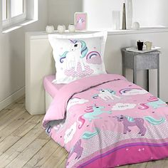 mainstays kids rainbow unicorn bed in a bag complete bedding set pink products pinterest. Black Bedroom Furniture Sets. Home Design Ideas
