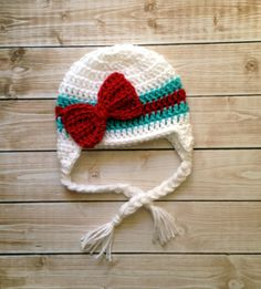 Stripe Big Bow Beanie in White, Teal and Red in 0-3 Month Size- READY TO SHIP