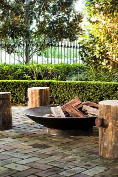 Angelina fire pit and Frankenstools by William Dangar & Associates. Available at Robert Plumb.