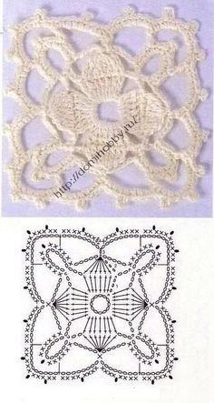 Knitting Crochet motives / Crochet / Crochet for beginners Crochet Square Patterns, Crochet Motifs, Crochet Blocks, Crochet Stitches Patterns, Crochet Squares, Thread Crochet, Granny Squares, Filet Crochet, Crochet Diagram