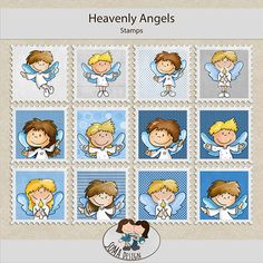 SoMa Design: Heavenly Angels - Stamps Heavenly Angels, Angels In Heaven, Digital Scrapbooking, Stamps, Kit, Color, Design, Style, Seals
