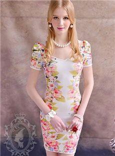 Chic Korean Style Short Sleeve Print Bodycon Dress