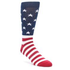 Red White Blue American Flag Men's Dress Socks - K. Bell Socks l Groom Wedding Socks, Groom Socks, Groomsmen Socks, American Flag Socks, American Flag Dress, American Idol, Belle Dress, Blue Gift, Novelty Socks