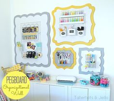 I LOVE this DIY Pegboard organizational wall + wooden frame cutouts. Beautiful office/craft room @Taylor Cox and Jello .com