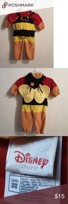 🐝Winnie 🍯the Pooh 🐝Costume 🍯 Adorable Winnie the Pooh Bee 🐻🐝🍯 Zips down on front both sides  Bee hoodie with Cute Antlers 🐝🍯😍 Disney Costumes Halloween