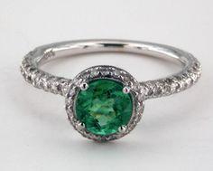 James Allen 18K White Gold 0.78ct Round Green Emerald Milgrain Halo Engagement Ring