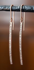 Gorgeous natural diamond bar earrings set in rose gold by Alexis Russell