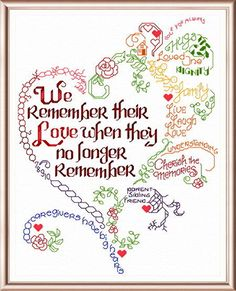 Lets Remember... Alzheimers - cross stitch pattern designed by Ursula Michael. Category: Words.