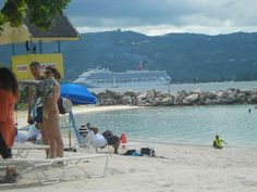 Beach in Montego Bay, Jamaica with our ship in the background