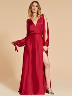 Ericdress A Line Long Sleeve V Neck Long Evening Dress With Side Slit, Quinceanera Dresses, Homecoming Dresses, Red Fashion, Fashion Outfits, Gown Skirt, Fashion Photography Inspiration, Fabulous Dresses, Special Occasion Dresses, Evening Dresses