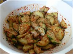 Korean Spicy Cucumber - these are yummy! If you've ever had Korean BBQ you know what these are :)