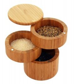 Totally Bamboo also makes a 3-tier spice/salt box that can give you access to several salts or spices in the space it would require to have one box or salt pit on the counter. .