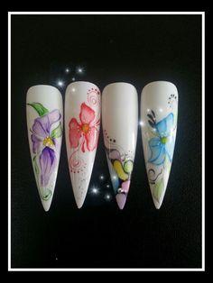 Aquarelle nail art Acrylic Colors, Acrylic Nails, Nail Manicure, Nail Polish, Water Color Nails, One Stroke Nails, Nail Stencils, Nails First, Nailart
