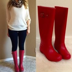 "Red Knee High Buckle Rain Boots 8 Size 8! Available in whole sizes only. Sold out in size 7. Please comment your size when purchasing. 6-10. buckle decor on shaft. Cushioned insole and easy pull on style. Material: Rubber (man-made) Sole: Rubber Measurement Heel Height: 1.25"" w/ 0.5"" Platform (approx) Shaft Length: 15.75"" (including heel) Top Opening Circumference: 15"" (approx) No Paypal. No trades. 10% discount on all bundles made with the bundle feature. No offers will be considered unless…"