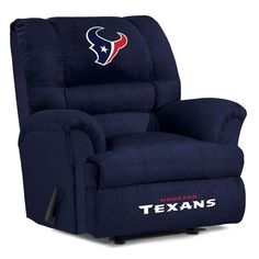 Watch this big game while relaxing in your own luxurious Collegiate Big Daddy Microfiber Recliner. This plush, oversized recliner is made for the big and tall fan. It rocks and reclines so you are perfectly comfortable while watching the game. Texans Football, Nfl Houston Texans, Nfl Denver Broncos, Seattle Seahawks, Texas Texans, Oversized Recliner, Recliner With Ottoman, Big Chair