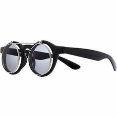 Black flip down retro round sunglasses £16.00