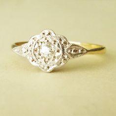Art Deco Delicate Flower & Leaves Design Diamond Ring, 1920's Diamond Platinum and 18k Gold Engagement Ring Size US 5.75