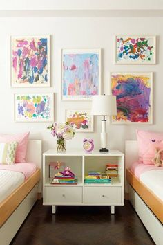 Frame the kiddies paintings for a great art wall {LOVE}