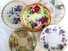 Vintage Porcelain Saucers,Mismatched China,Floral,Handpainted,Lusterware,Japan,Dining Serving,Wedding Bridal Party,Irredescent,Gold Trims