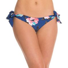 Seafolly Vintage Vacation Hipster Tie Side Bikini Bottom ($37) ❤ liked on Polyvore featuring swimwear, bikinis, bikini bottoms, french blue, tie side bikini, swim bikini bottoms, retro bikini, seafolly swimwear and hipster bikini