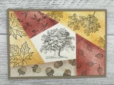 Autumn card created using the Retiform technique Collage Techniques, Card Making Techniques, Handmade Greetings, Greeting Cards Handmade, Stampin Up, Sunflower Cards, Thanksgiving Cards, Fall Cards, Card Tutorials