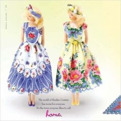 Doll dresses made from vintage hankies