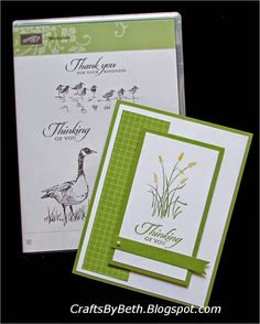"""By Beth Adams. Measurements for panels are listed on her website. Uses stamp from """"Wetlands"""" by Stampin' Up."""