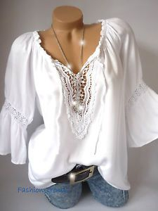 Italy-Vintage-Haekel-Spitze-Tunika-Bluse-Shirt-Top-Lagenlook-Weiss-M-L-XL-38-40-42