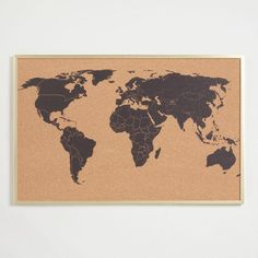 Travel addicts will adore using the included pushpins to mark our world map corkboard decor with all the places they've been or dream of exploring. Easy Home Decor, Handmade Home Decor, Home Decor Bedroom, Vintage Wall Art, Vintage Walls, Corkboard Decor, Corkboard Ideas, Unique Picture Frames, Best Kitchen Designs