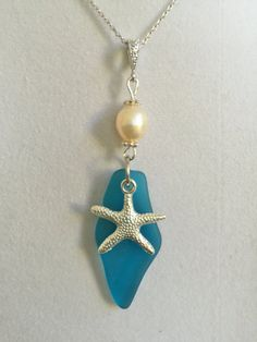 Blue Sea Glass Silver Starfish and Pearl Necklace by joytoyou41