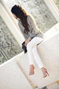 Casual Weekend :: White denim, striped shirt | Wendy Nguyen
