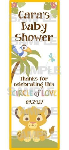 LION KING - THE CIRCLE OF LIFE! SO CUTE! GREAT PARTY FAVOR FOR LION KING THEMED BABY SHOWER!! Personalized SIMBA LION KING Baby Shower LAMINATED bookmarks party favors