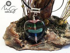 Colgante de Vidrio y Plata de Ley, Colección Corazones. Lampwork Beads. Hecho a mano por MALAKAGLASS de MALAKAGLASS en Etsy