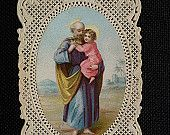 Antique holy card paper lace Pure spouse of blessed Virgin Mary religious