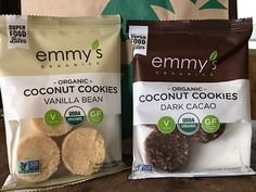 emma's COCONUT COOKIES. VEGAN.  In some locations around the country Starbuck's coffee is beginning to sell some vegan food items. At one such location in Cleveland, Ohio Steve found these Super Food Bites. COCONUT COOKIES made by emmy's ORGANICS. Wow, I thought, just when a lady at another Starbuck's told me vegan items wouldn't show up in the mid-west any time soon. First they go to the west coast and then work their way slowly east.  Our lucky day in Cleveland! Two flavors too...