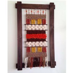 Telar Grande by awanachile - Crochet Weaving Wall Hanging, Weaving Art, Tapestry Weaving, Loom Weaving, Macrame Patterns, Loom Patterns, Finger Weaving, Yarn Thread, Weaving Projects