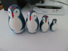 Vtg Russian USSR Wood Hand-painted Nesting Dolls 4 PENGUINS