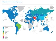 Leading social nets by countries