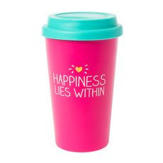 Happiness Lies Within Pink and Turquoise Travel Coffee Mug