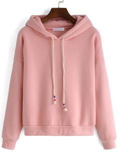 Hooded Drawstring Loose Pink Sweatshirt