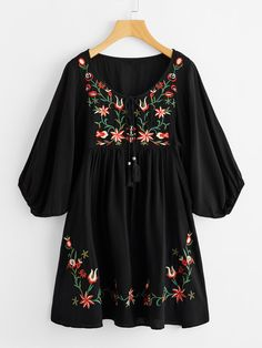 online shopping for Milumia Women's Tasseled Tie Neck Lantern Sleeve Embroidered Smock Cute Mini Dress from top store. See new offer for Milumia Women's Tasseled Tie Neck Lantern Sleeve Embroidered Smock Cute Mini Dress Short A Line Dress, Dress Long, Trendy Outfits, Fashion Outfits, Fashion Fashion, Fashion Ideas, Smock Dress, Crepe Dress, Peasant Dresses