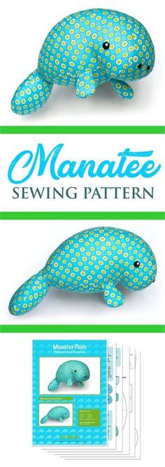 Sew a manatee animal plush toy! This stuffed manatee sewing pattern is suitable for any fabri. : Sew a manatee animal plush toy! This stuffed manatee sewing pattern is suitable for any fabric; cotton or minky fabric works perfect. Plushie Patterns, Animal Sewing Patterns, Sewing Patterns For Kids, Sewing Projects For Kids, Sewing For Kids, Pattern Sewing, Free Pattern, Art Projects, Sewing Designs