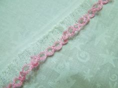 1 yard of White and Pink Ruffled chantilly lace by MarlenesAttic, $1.00