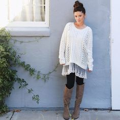 fae29430f60 ellajboutique s photo on Instagram Oversized sweaters and boots Fall  outfits Oversized Sweaters