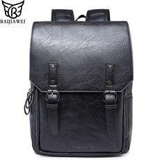 62b3ff821eed Baijiawei Высокое качество масла Воск кожа Рюкзаки в студенческом стиле  мешок для Для мужчин Чемодан и путешествий Mochila молния ежедневно рюкзак  купить на ...