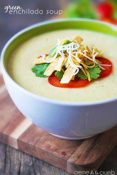 Green Enchilada Soup - Creme de la Crumb http://lecremedelacrumb.com/2014/01/green-enchilada-soup.html