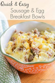 For a quick and easy breakfast meal, try these Sausage & Egg Breakfast Bowls! Easy to make and Trim Healthy Mama and Keto friendly! #breakfast #healthyfood #keto #trimheatlhymama #whole30 #allthingsmamma   allthingsmamma.com Quick And Easy Breakfast, Healthy Breakfast Recipes, Healthy Recipes, Easy Cooking, Healthy Cooking, Sausage And Egg, Breakfast Bowls, Breakfast Ideas, Breakfast Pancakes