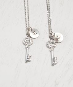 silver key necklace,bff jewelry,best friend necklace,bridesmaid jewelry,skeleton key pendant,key jewelry,friendship symbol,matching couple